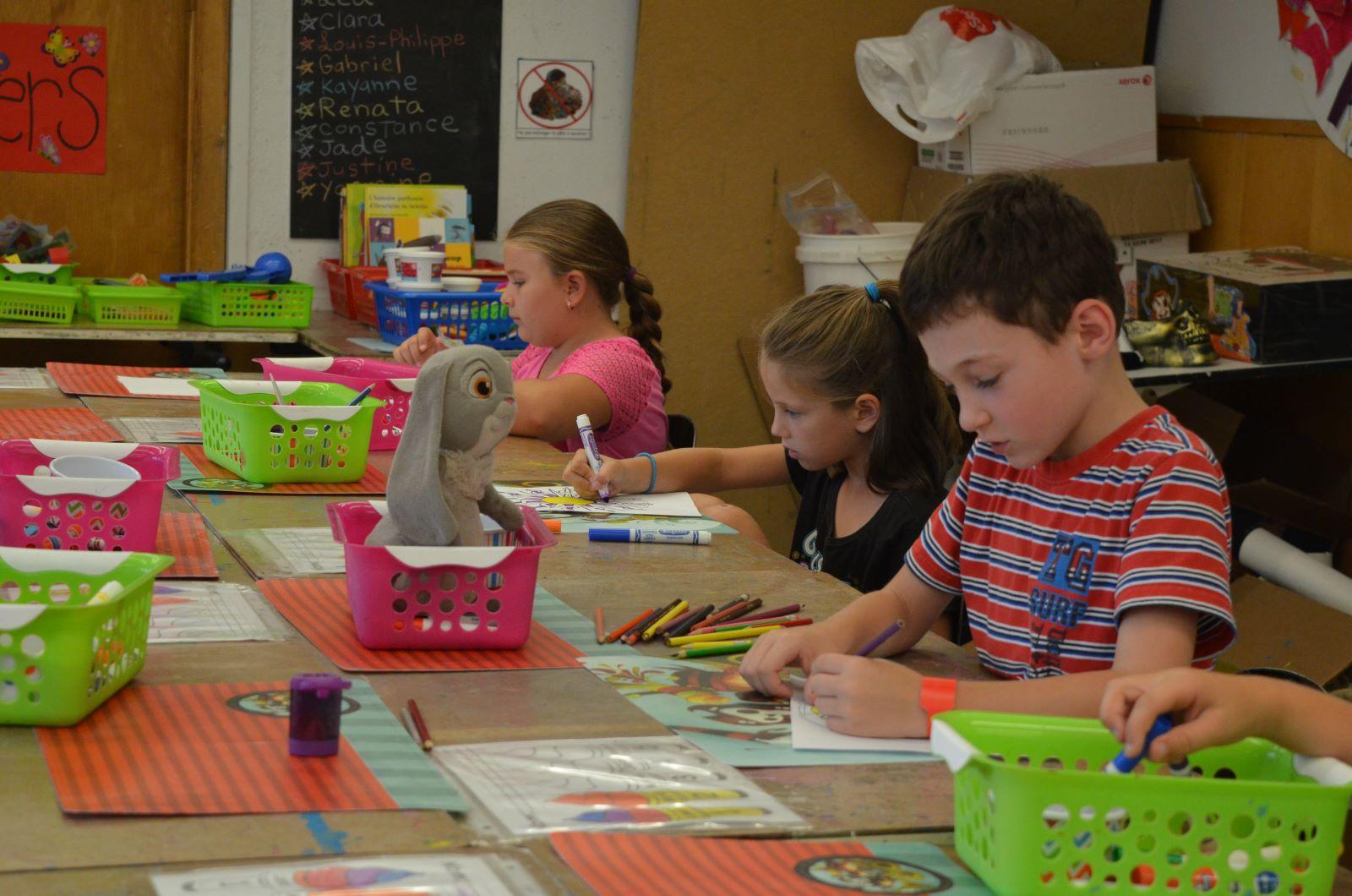 Enfants qui dessinent au camp dessin peinture