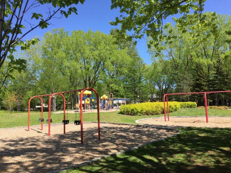 Balançoires et modules de jeux du parc Bellevue
